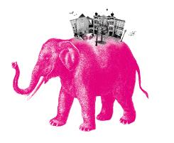 Rosa Elefant - Titelbild für das Dorf in der Stadt
